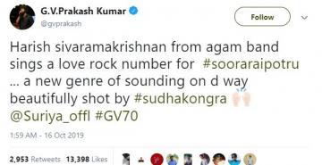 Suriya Soorarai Pottru songs GV Prakash