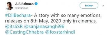 Dil Bechara release date AR Rahman Sushant Singh Rajput The Fault In Our Stars Hindi remake