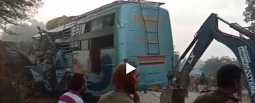 Madhya pradesh bus - truck accident in 15 killed