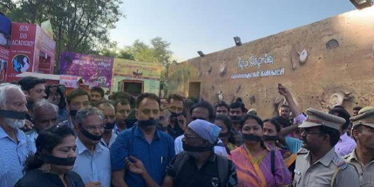 Black cloth protest by writers against Tamil Nadu Government