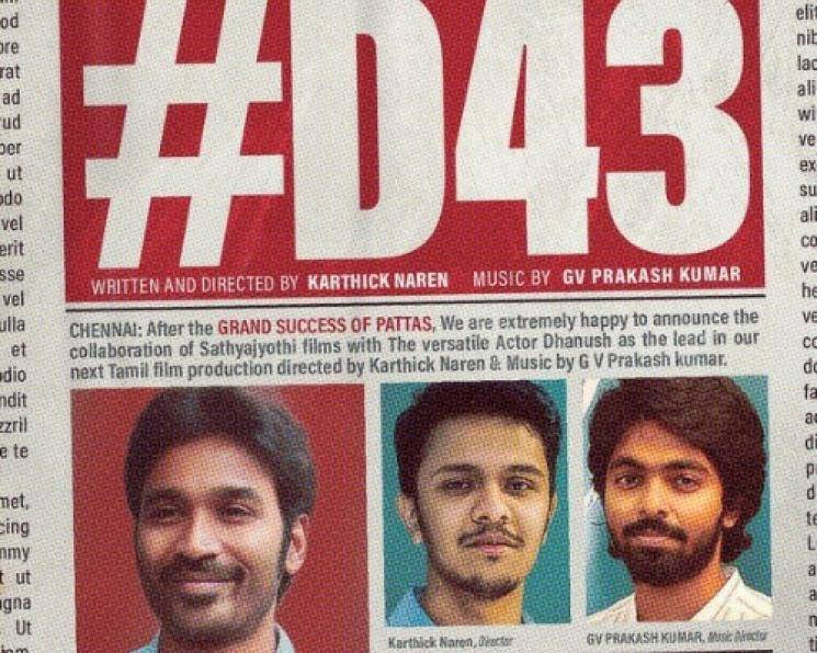 GV Prakash reveals Dhanush 43 will be a new age thriller director Karthick Naren Sathya Jyothi Films