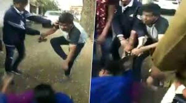 Police officer beats wife in public in MP India