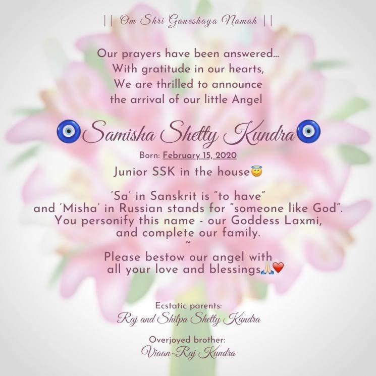 Shilpa Shetty welcomes second baby Samisha Shetty Kundra through surrogacy Raj Kundra