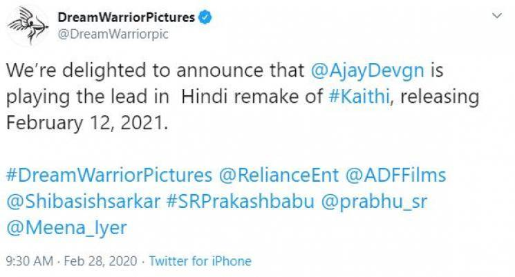 Ajay Devgn announced to play Karthi role in Kaithi Hindi remake Ajay Devgan