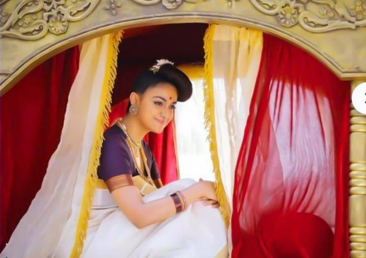 Keerthy Suresh traditional look in Marakkar Arabikadalinte Simham