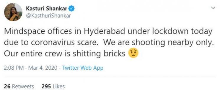 Bigg Boss Kasthuri reveals coronavirus scare at shooting spot Mindspace tech park Hyderabad