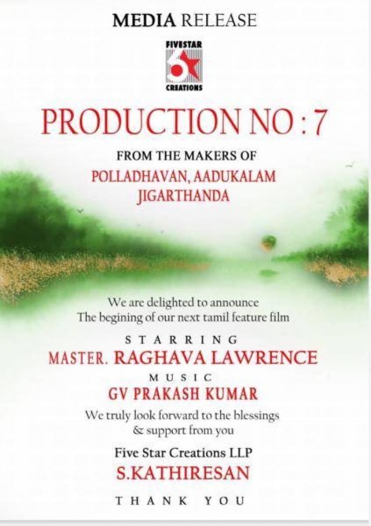 Raghava Lawrence Next Movie Music By GV Prakash