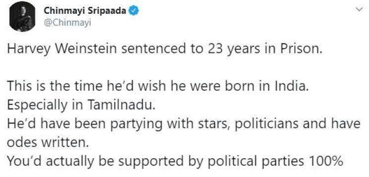 Chinmayi Vairamuthu producer Harvey Weinstein 23 years in jail MeToo