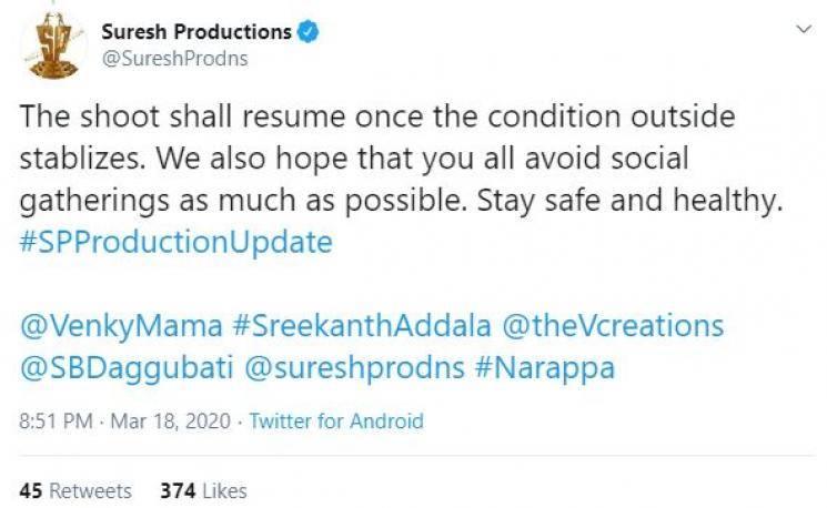 Asuran Telugu remake Naarappa stopped due to coronavirus threat Venkatesh Priyamani