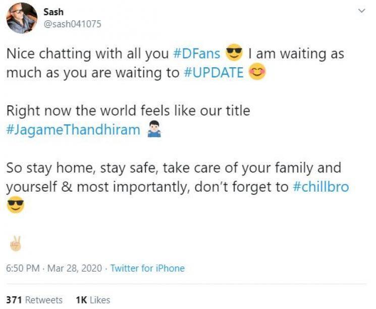 Jagame Thandhiram producer Sasikanth update plan for Dhanush fans