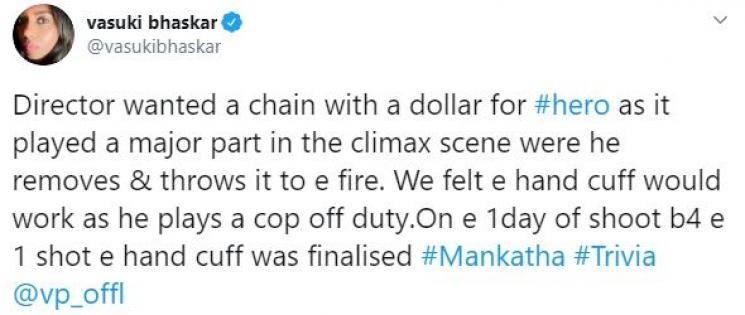 Thala Ajith Mankatha costume secret revealed Vasuki Bhaskar Venkat Prabhu Yuvan