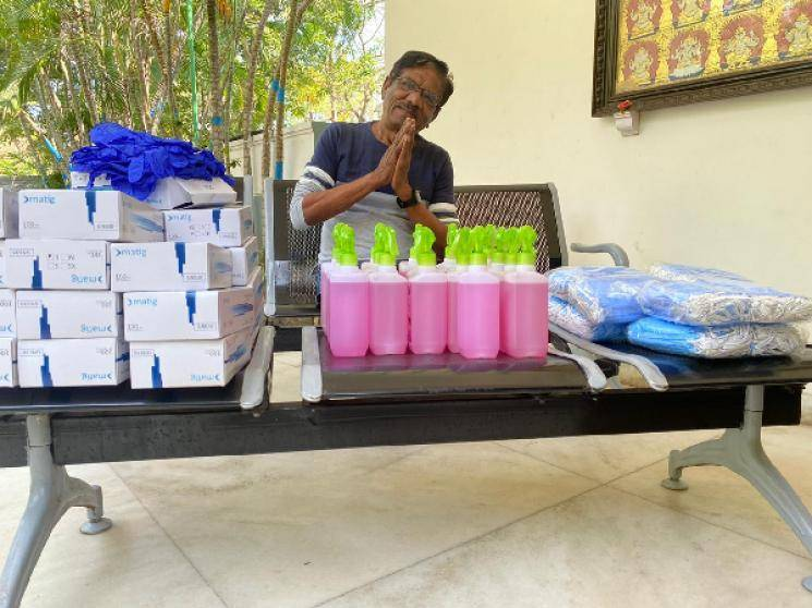 Director Bharathiraja donates masks gloves hand sanitizers