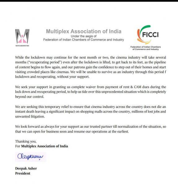 Multiplex Association of India requests landlords to waive off rent and maintenance