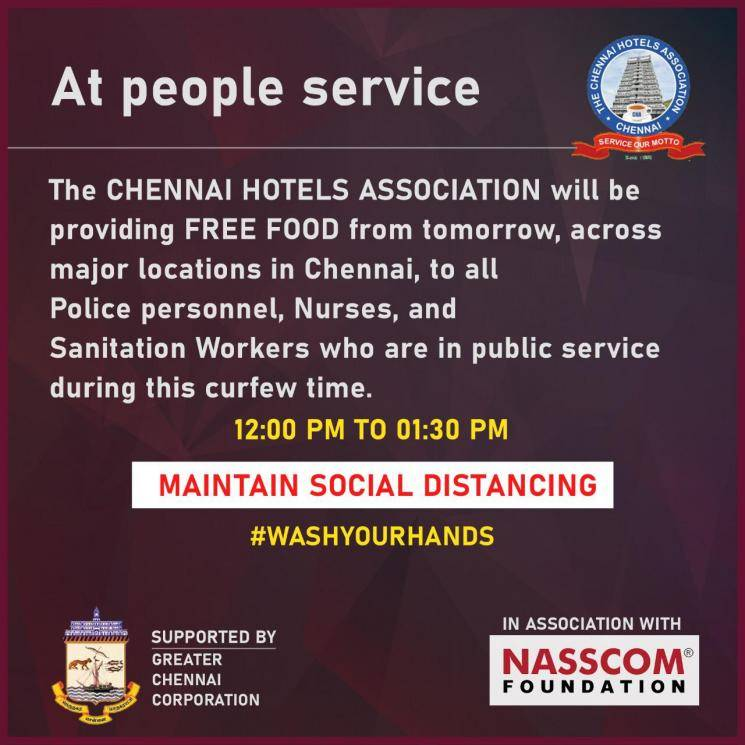 Chennai Hotels Association to provide free food for people in public service