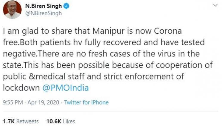 Goa and Manipur become coronavirus free Pramod Sawant Biren Singh