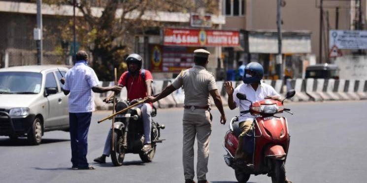 Coronavirus Chennai Police block short cuts lockdown violators