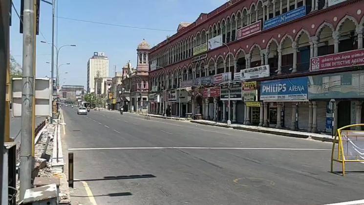 Coronavirus lockdown Chennai Anna Salai closed