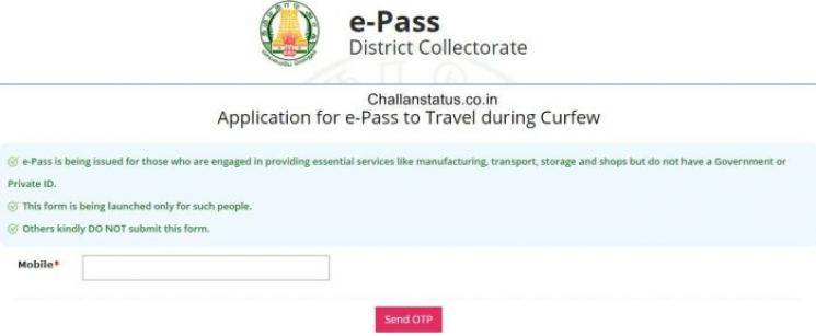 Coronavirus Chennai Travel ePass lockdown suspended for four days
