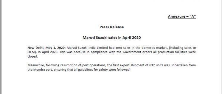 Maruti Suzuki reports zero sales due to coronavirus lockdown