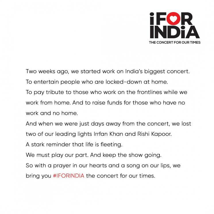 i for india concert