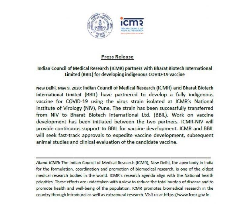 Great News: ICMR partners with BBIL for developing COVID-19 vaccine!