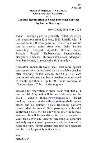 Indian Railways to gradually restart passenger train operations from May 12