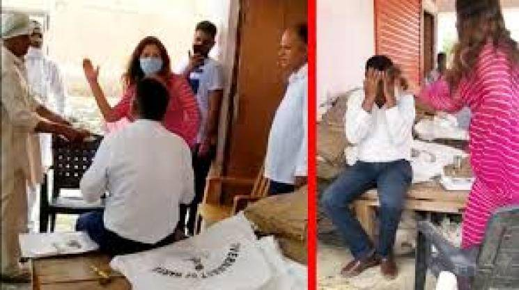 Actress Sonali Phogat of BJP hits officer with slipper