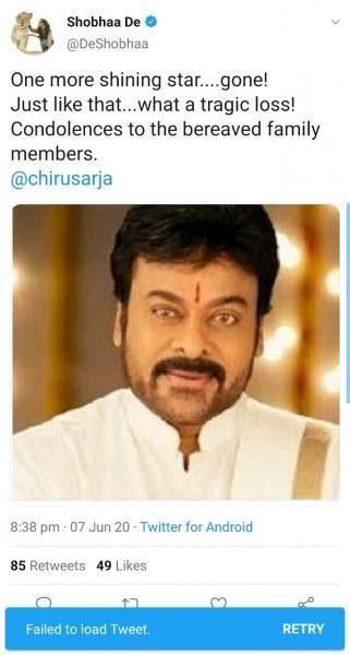 Tollywood erupts as journalist Shobhaa De mistakenly posts condolences for Megastar Chiranjeevi!