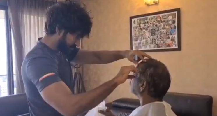 Actor Aadhi Gives A Haircut To His Father