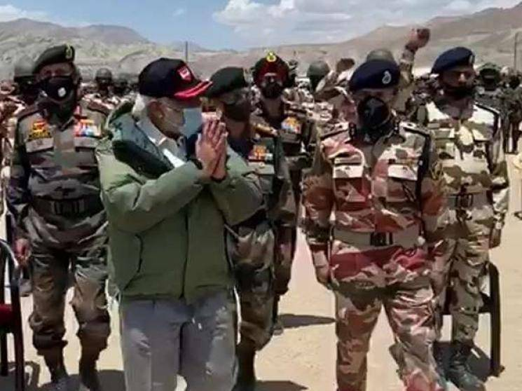 PM Modi Ladakh visit soldiers address Galwan Valley