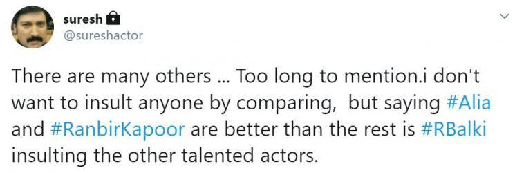 actor suresh opposes balki comments about alia bhatt and ranbir kapoor