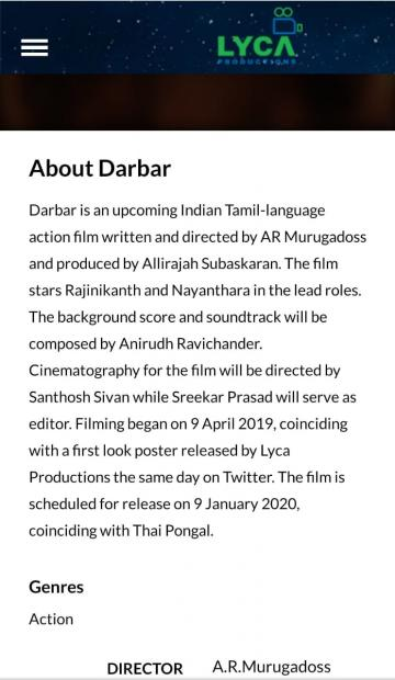 Darbar Release Date Revealed Officially By Lyca