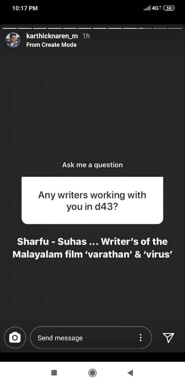 Dhanush D 43 Writers Revealed By Karthik Naren