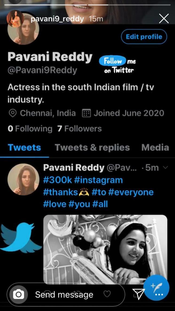 Chinnathambi Serial Actress Pavani Reddy Joins Twitter