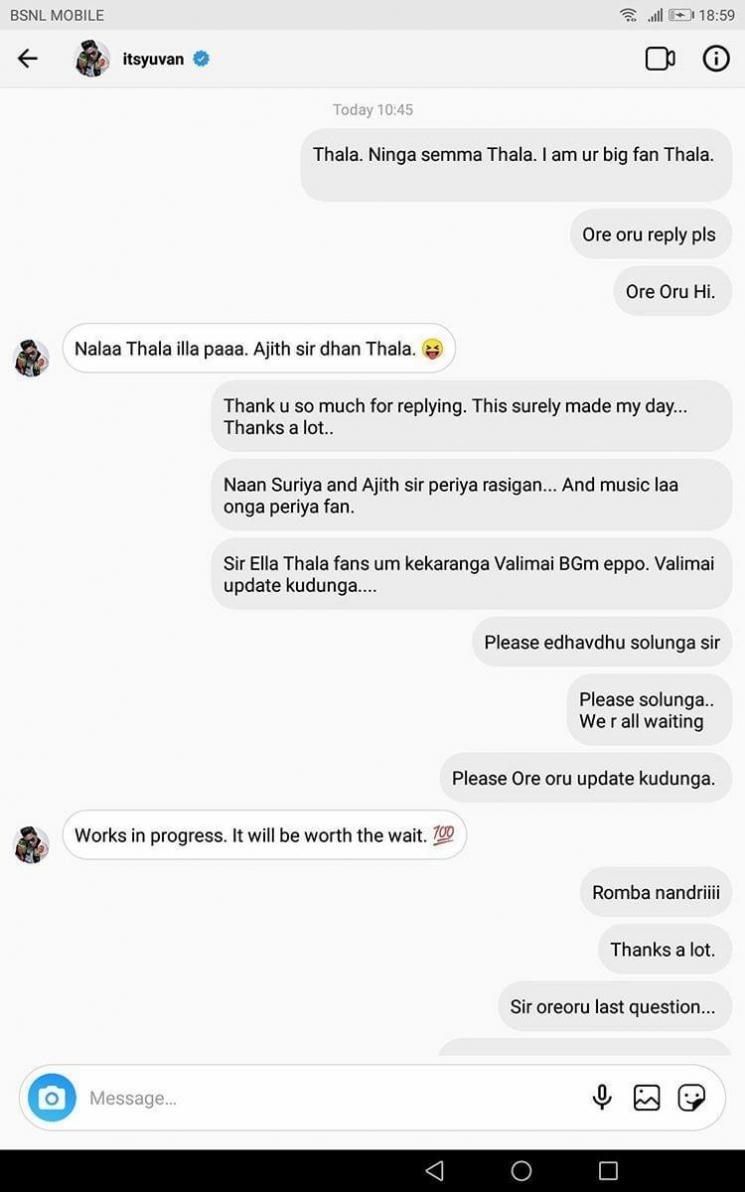 Valimai Yuvan Shankar Raja Updates About Film