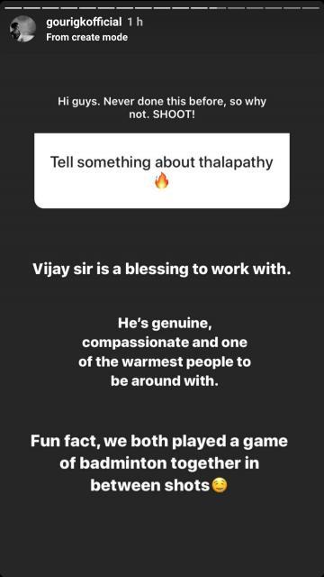 Thalapathy 64 Gouri Kishan Insta Story About Vijay