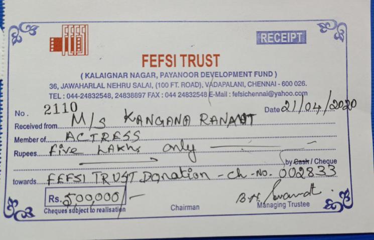 Kangana Renaut Donates 5 Lakhs For FEFSI Workers
