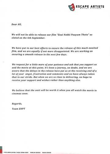 ENPT Producer Emotional Statement Dhanush GVM