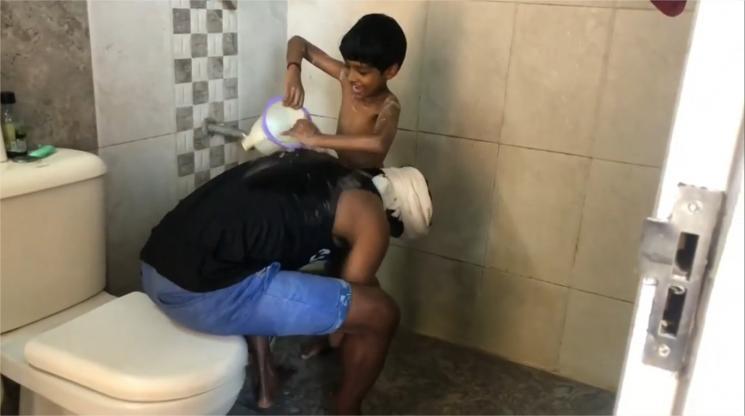 Soori Makes His Son Bath Corona Quarantine Time