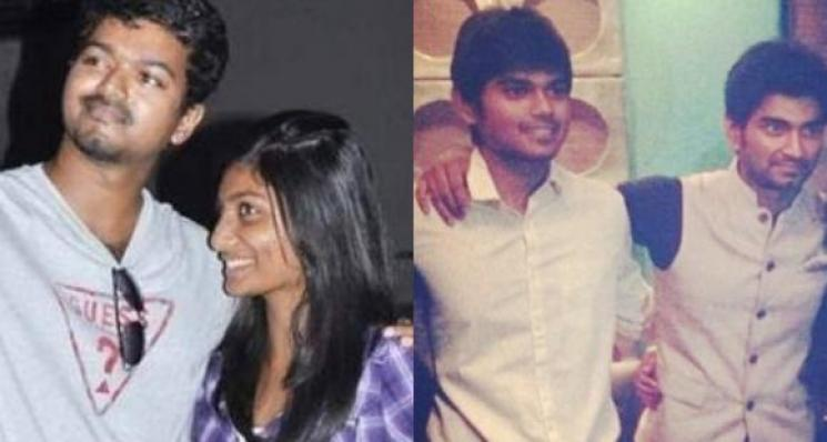 Atharvaa Posts With Thalapathy Vijay In A Function