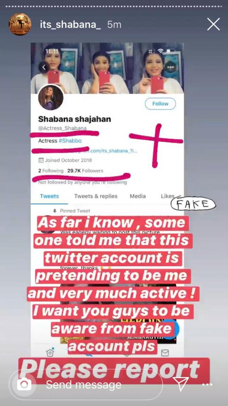 Sembarathi fame Shabana clarifies on fake Twitter account