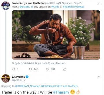 SR Prabhu Tweets On Karthi Kaithi Movie Traiiler