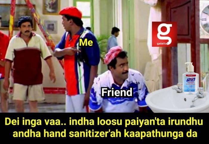 hand sanitizer meme - Tamil Memes