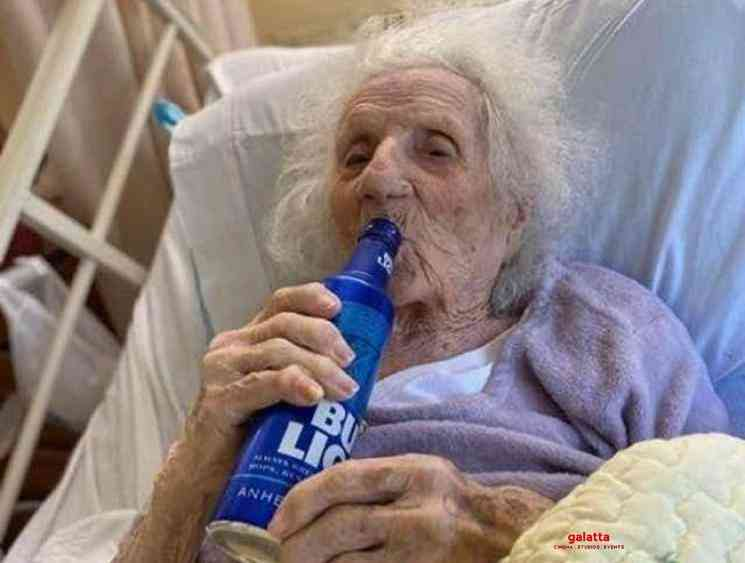 103 year old woman celebrates beating corona with a cold beer - Tamil Movie Cinema News