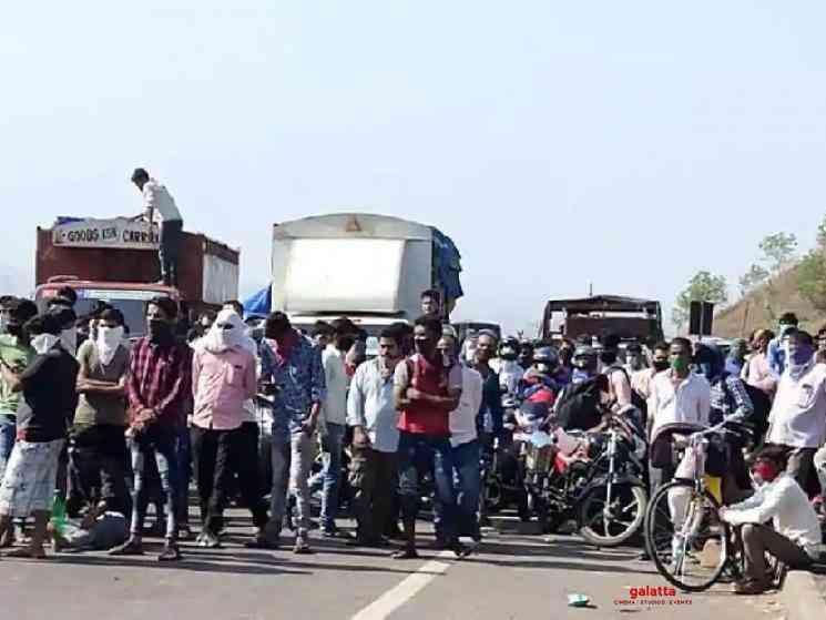 Migrants protest on MP border pelting stones at Police - Telugu Movie Cinema News