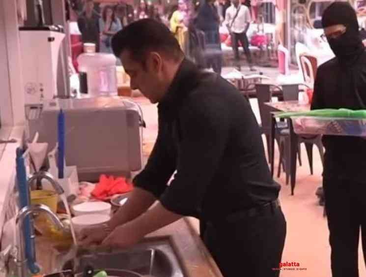 Bigg Boss 13 Salman Khan washing plates and dishes - Tamil Movie Cinema News