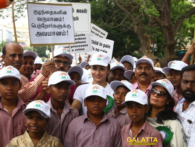 Trisha Flags Off Rally Against Child Labor On World Day Against Child Labour