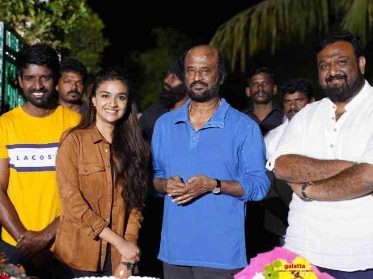 Thalaivar 168 team congratulates Keerthy Suresh at shooting spot - Tamil Movie Cinema News