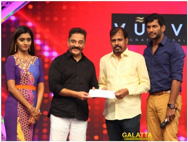 Kamal Haasan And Vishal Extend 10 Lakhs Donated By Galatta Dot Com To FEFSI