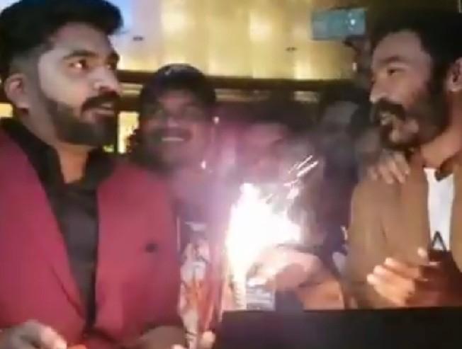 STR birthday celebration cake cutting video Dhanush Yuvan Shankar Raja